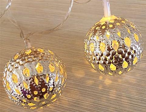 ERGEOB 10er LED/ 1m Lichterkette Silber Kugeln Marokkanische Lichterkette warmweiß Licht batteriebetrieben