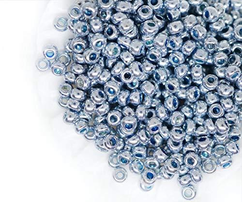 20g Silber Steel Blue Metallic Runde Tschechische Glasperlen, PRECIOSA-Perlen, Rocaille Spacer 10/0 2,3 mm -