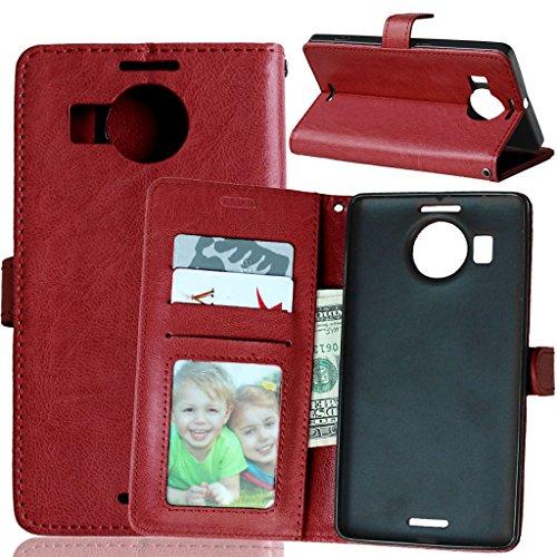 Lumia 950XL Flip Hülle, [Kostenlos Syncwire Ladekabel] FUBAODA PU Flip Ledertasche Schutzhülle Case Tasche mit Ständerfunktion und Karte Halter für Lumia 950XL (braun)