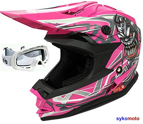 HELMET OFF-ROAD 3GO X10-K SKULL MOTOCROSS BOYS AND GIRLS QUAD KART ATV ​​PINK AND WHITE GLASSES (L (51-52 CM))
