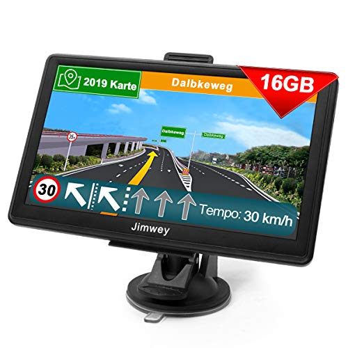 Navigationsgerät für Auto Navigation GPS Navi LKW PKW Navigationssystem 7 Zoll 16GB Lebenslang Kostenloses Kartenupdate mit POI Blitzerwarnung Sprachführung Fahrspurassistent 52 Europa UK 2019 Karte