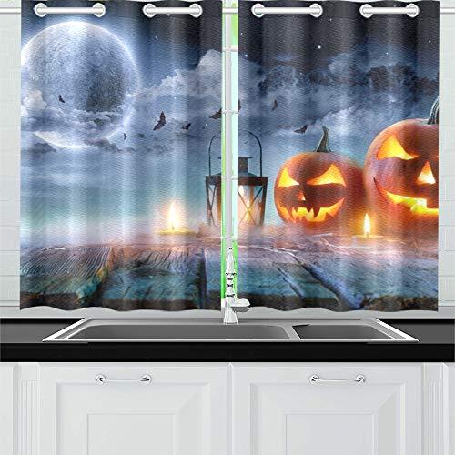 n Glowing Moonlight Spooky Night Küchenvorhänge Fenstervorhangebenen für Café Bad Wäscherei Wohnzimmer Schlafzimmer 26 * 39 Zoll 2 Stück ()