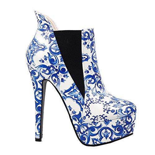 Voir l'établissement histoire porcelaine bleue et blanche plate-forme Stiletto cheville Boot Bootie, LF80843 Bleu