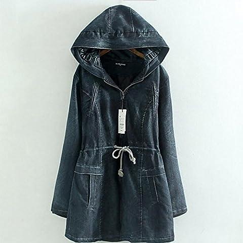 ZQQ Denim giacca lunga delle signore più la dimensione inverno cappotti ispessita studenti caldo denim con cappuccio cerniera cappotto sciolto cappotti , figure , xxl