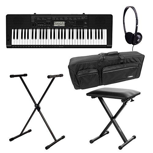 Casio CTK-3500 Keyboard Deluxe Set (61 Tasten, 48-fach polyphon, Dance Music Mode, Begleitautomatik, inkl. Ständer, Kopfhörer, Tasche und Bank) Schwarz