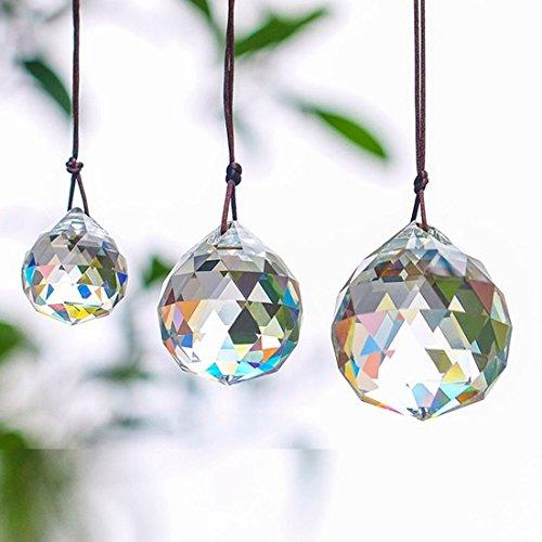 Boerni Kristallkugel-Set mit 20/30 / 40 mm klaren, facettierten Prismenkugeln, Sonnenfänger für Deckenanhänger, Beleuchtung, Kronleuchter, Fenster, Dekoration, 3 Stück