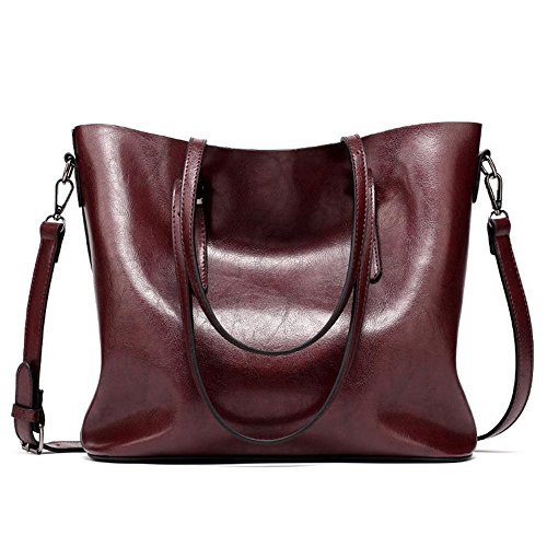 Sheli Womens Western Fashion Slack Style Soft Leather Shoulder Bag Tote with Extal Purse,Maganet Closure (Hobo Cabrio Bag Leder)