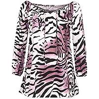 Damen Tshirt,Geili Übergröße Frauen Leopard-Druck Langarm V-Ausschnitt T Shirt Damen Mode Sexy Aus der Schulter... preisvergleich bei billige-tabletten.eu