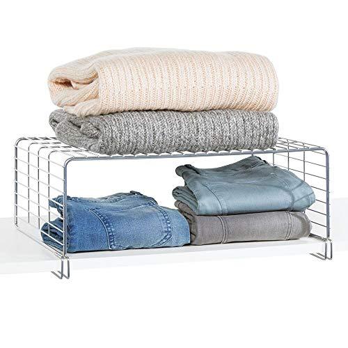 mDesign Cesta metálica para ordenar armarios - Moderno separador de estantes de...