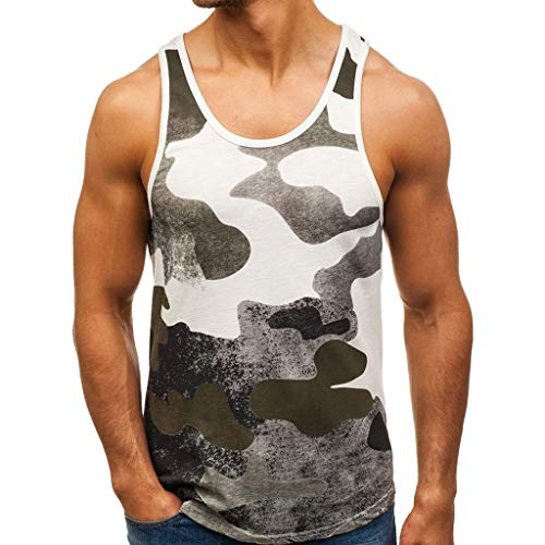 sunnymi  Tarnen Top, Herren Ärmelloses Tank T-Shirt Patchwork Bodybuilding Sport Fitness ()