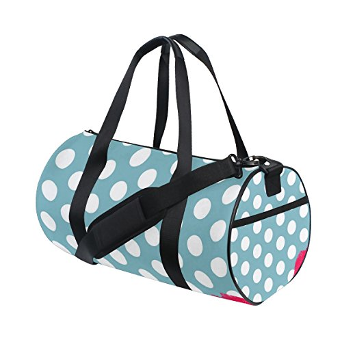 jstel rote Lippen und Polka Dot Sports Gym Tasche für Frauen und Herren Duffle Reisetasche (Polka Tote Dot Large)