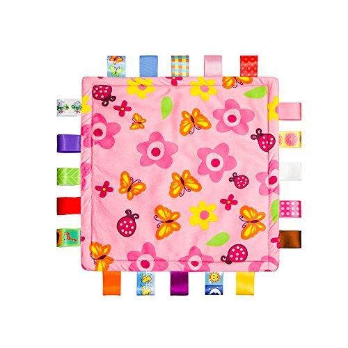 Babydecke mit bunten Bändern umlegen, Taggy Decke für Baby, Kleinkind-Sicherheitsdecke, Baby-Duschtuch, Kleinkinder Sicherheit Decke, Blumen und Schmetterlinge Blanket