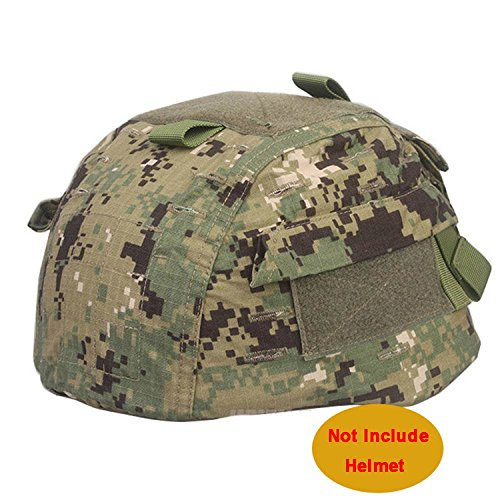 Mich 2002 Ver2 Combat Helm Cover Tuch mit Klettverschluss Rückseite Pouch 6 Farben für Military Tactical Airsoft Paintball Jagd (Digital Woodland, bei FG, ATACS, Aor2, ACU, sandstorm Camo) AOR2