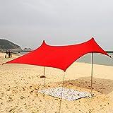 Lovebay Tenda da spiaggia ombrellone spiaggia tendalino da sole portatile all'aperto da campeggio Sun Shelter Tendone incluso Poli, leggero 100% lycra SunShelter con protezione UV impermeabile 82 x 59 '' per campeggio, escursionismo, pesca, spiaggia, pic-nic (rosso)