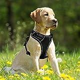DHpet Hundegeschirr No Pull Verstellbare Reflektierende Große Hunde Weste Einfache Kontrolle für Outdoor Walking, Large, Schwarz