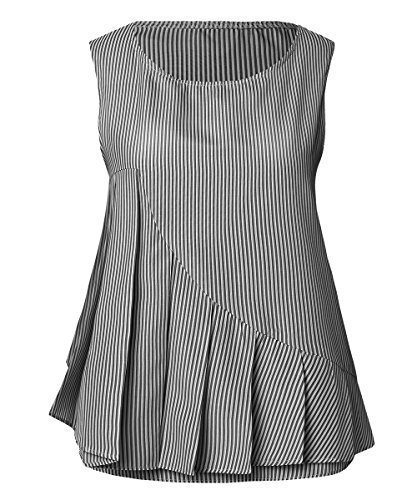 Begonia.k donna a righe verticali maglia pieghe sul davanti senza maniche pinstripe camicia - nero, xx-large