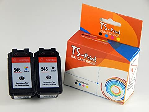 TS-Print Lot de 2cartouches d'encre remplacent les cartouches Canon cl546+ pg545XL BK + C 30ml Noir Black + 24ml tricolore couleur Couleur Color