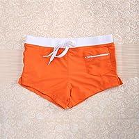Delicacydex Fashion Front Slit Men Natación Shorts Slim Cut Swimwear Quick Drying Swimming Trunks Sexy Men Swim Briefs Hot Beach Shorts - Naranja XL