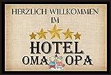 """Herzlich Willkommen im Hotel Oma & Opa mit Motiv """" - Fussmatte bedruckt Türmatte Innenmatte Schmutzmatte lustige Motivfussmatte"""