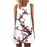 Honghu Mujer Elegante Vestido de Casual Maxi Mini Party Vestido de Fiesta Noche de Beach Vacation Impresion Dress Tama?o L Blanco&Rojo