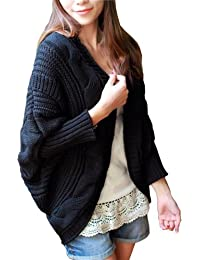 Dayiss® Schwarz Fashion Damen gestricktes Cardigan Strickjacke knit pullover lange Coat Strick Mantel(53-73cm)
