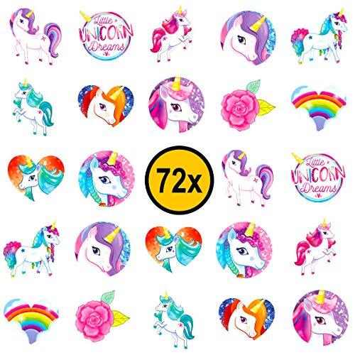 72x Einhorn Kinder Tattoos / für Jungen und Mädchen / Mitgebsel / Kindergeburtstag / Unicorn / Kinder Tattoo Set von PartyPack™