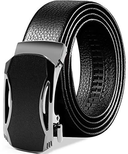 BTNEEU Cinturón para Hombre de Cuero Cinturón Piel Hebilla Automática Hombre, 130cm Cinturon Trinquete Caballero Cuero, 35 mm Cinturón de Vestir Hombre para Jeans, Ropa Casual, Ropa Formal (Negro 02)