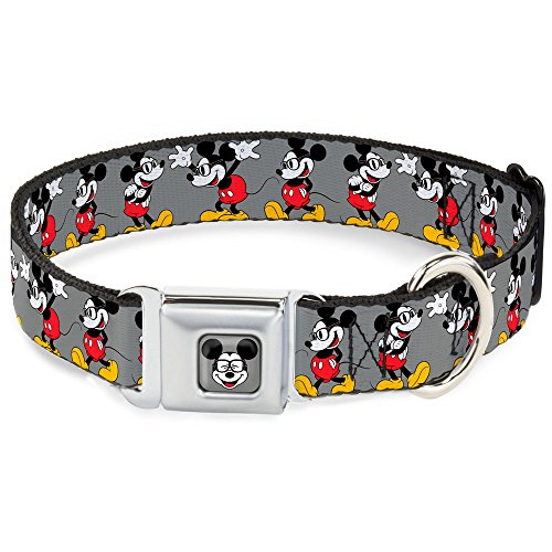 Buckle Down Dybt Mickey Mouse w/Gläser Full Farbe Grau Hund Halsband