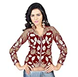 Drapme High Neck Red Velvet Embroidery U...