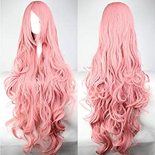 Womens Ladies Girls 100cm Pink Color Long Curly Wigs High Quality Hair Carve Cosplay Costume Anime Party Bangs Full Sexy Wigs