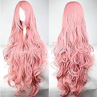 peluca, 80cm, color rosa, pelo largo rizado de alta calidad, con flequillo, ideal para Cosplay o disfraz de anime