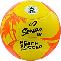 SENDA Playa Beach Soccer Ball - Abrasion resistant cover for extended durability on sand and special padding for a softer barefoot touch and Fair Trade Certified - Size 5, Orange/Yellow (Ages 13 & up)
