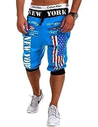 MT Styles Sweat-Short pantalon de sport contrasté homme R-560