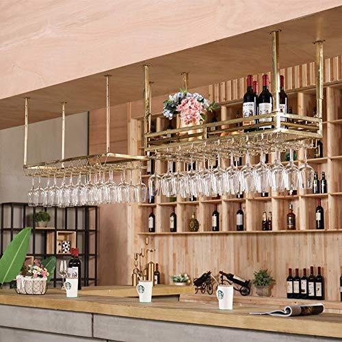 WG Wohnzimmer Weinregal, Restaurant Weinregal, Dekoratives Weinregal, Weinregale Metallic Hängende Wandbehang Wein Wein Champagner Glas Kelch, um jeden Raum zu erfüllen,150 cm * 35 cm (Wandbehang Wein)