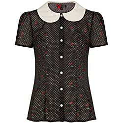 Hell Bunny Sophie Cereza Lunares Estilo Vintage Blusa de Chifón - Negro, UK 12 (M)