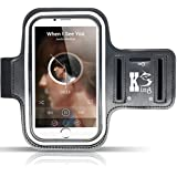 Sportarmband Hülle (5,5 bis 6,0 Zoll), Kingshark Sportarmband Sweatproof Joggen Laufen Sport Armband Handy Hülle Schutzhülle Case + Schlüsselhalter Kopfhörer Anschluss für Samsung S8/ iPhone 6 6s / Huawei P10 Galaxy S7 edge / Sony Xperia XZ oder von 5.5 bis zu 6.0 Zoll Smartphone