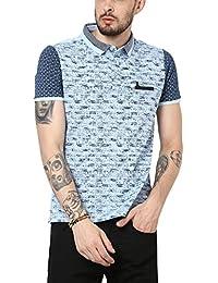 Monte Carlo Blue Printed Slim Fit Polo T-Shirt