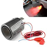 XINGXINGNS LED Tubo di scappamento per autoveicoli Veicoli Auto Spitfire Silenziatore fiammeggiante a Luce Rossa Universale in Acciaio Inossidabile,Rosso,Straightedge