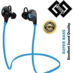 Bluetooth Headset - TAGG Wireless Sports Headphones with Mic || Sweatproof Earbuds, Best for Running,Gym || Noise Cancellation || Stereo Sound Quality || Compatible with Iphones, IPads, Samsung and other Android Devices (Blue/Black)
