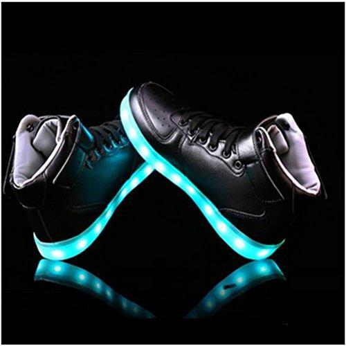 [presente: Toalha Pequena] Junglest® Sete Couro Cor Alta Superior Carregamento Usb Led Brilhante Calçados Esportivos Calçados Esportivos Sneaker Sneakers Para Unisex-adult H Com Velcro Vermelho