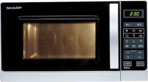 Sharp R-642INW Microondas Grill 20L, Control Tactíl, 800W, 800 W, 20 litros, Plateado