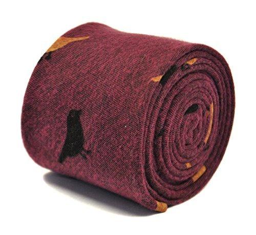 frederick-thomas-dark-pink-tie-with-bird-design-in-100-cotton-linen