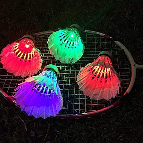 feiledi Trade 4PCS LED-Badminton, LED-Federball in der Nacht, Nachtglühen-buntes Badminton für Innensportaktivitäten im Freien