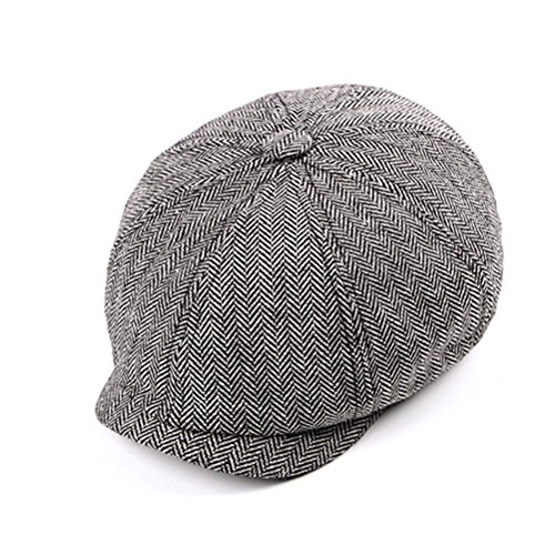 Zhhlinyuan Mens 8 Panel Baker Tweed Flat Cap Herringbone Newsboy Beret Strickmützen (Tweed-newsboy)