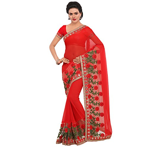 KOROSHNI Women's Georgette Saree With Blouse Piece(Red ,Free Size)
