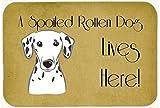 "Caroline's Treasures BB1458JCMT Dalmatian Spoiled Dog Lives Here Kitchen or Bath Mat, 24 by 36"", Multicolor"