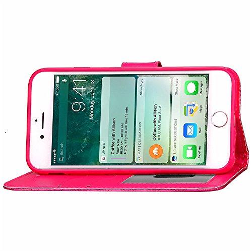 Coque pour Apple iPhone 7 4.7,Housse en cuir pour Apple iPhone 7 4.7,Ecoway étui en cuir PU Cuir Flip Magnétique Portefeuille Etui Housse de Protection Coque Étui Case Cover avec Stand Support Avec de 3D diamant treillis(Rose Rouge)