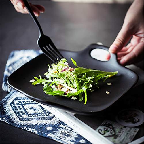 Mondeer piatti da forno e da portata, smalto opaco in stile nordico. piatto da portata in ceramica a forma quadrata biauricolare (nero)
