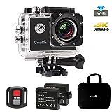WiFi Action Cam,CrazyFire 4K Sportiva Impermeabile Camera, Ultra HD 16MP Videocamera, Sport Camera con 170° Grandangolare 2.0 Pollici due 900mAh Batterie e Kit Accessori con Pacchetto Portatile