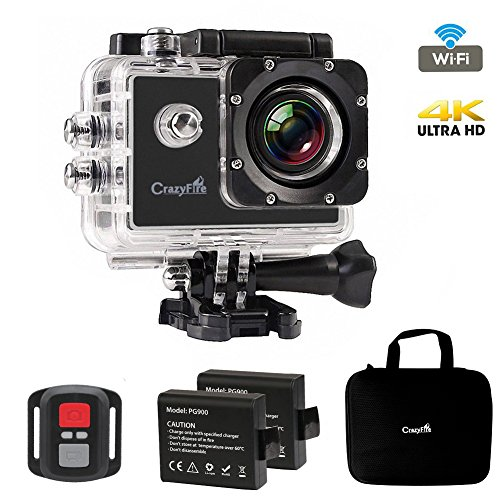 """Underwater Action Camera,CrazyFire 4K Ultra HD Sport Camera, WiFi 16MP Camcorder Camera, 170° Wide-Angle+98 Feet (30M) Waterproof+2.0"""" LCD Screen with 2 PCS 900mAh Batteries and Kit of Accessories"""
